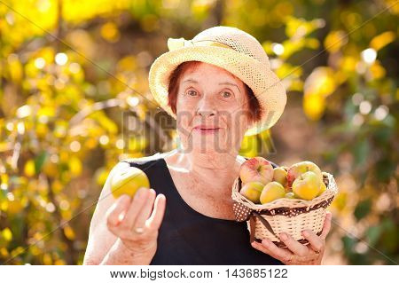 Cheerful senior woman holding basket with green apples wearing straw hat and summer top over nature background. Posing outdoors. Looking at camera. 70s. 80s.