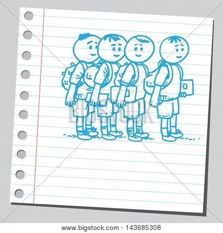 Schoolkids waiting in line