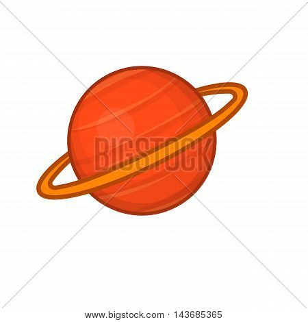 Saturn icon in cartoon style isolated on white background. Planet symbol