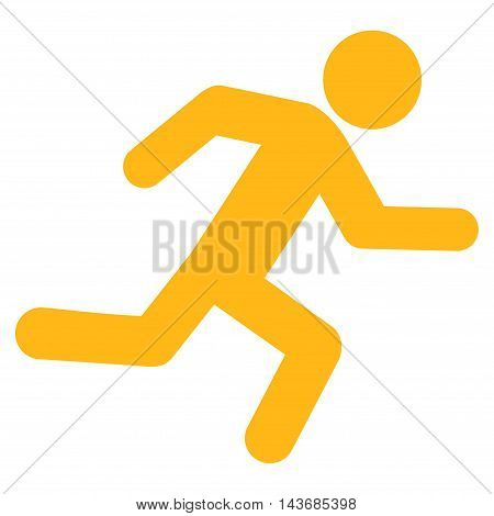 Running Man icon. Vector style is flat iconic symbol with rounded angles, yellow color, white background.