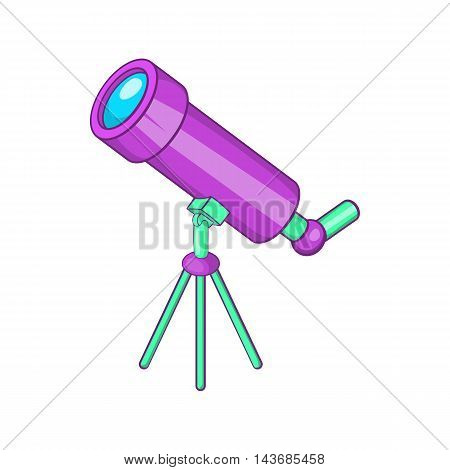 Telescope icon in cartoon style isolated on white background. Optical device symbol
