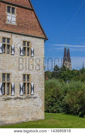 Historical Kolvenburg And Church Towers Of Billerbeck