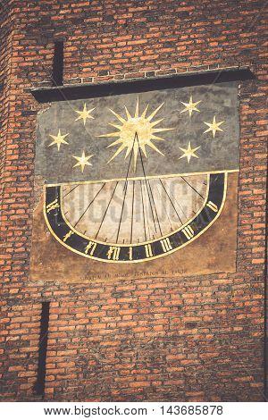 Medieval sundial on the wall of the St Mary Gdansk Poland