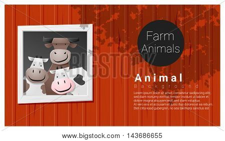 Farm animal background with cow , vector , illustration