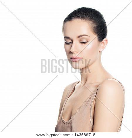 Spa Girl. Beautiful Woman. Healthy Skin and Natural Makeup