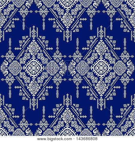 Vector Tribal Mexican vintage ethnic white on blue seamless pattern