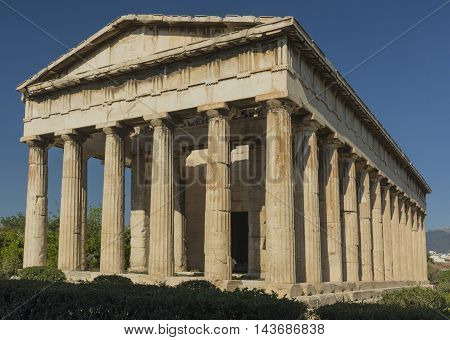 the temple of Hephaestus in the Greek Agora in Athens a Sunny day on blue sky background