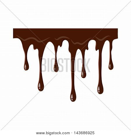 Flowing chocolate icon isolated on white background. Sweets symbol