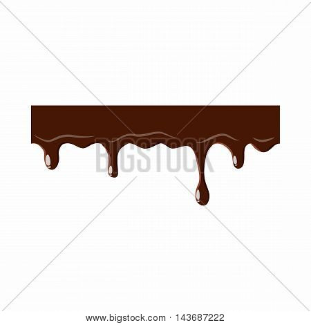 Flowing down chocolate icon isolated on white background. Sweets symbol