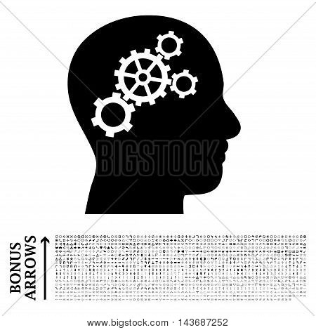 Brain Gears icon with 1200 bonus arrow and direction pictograms. Vector illustration style is flat iconic symbols, black color, white background.