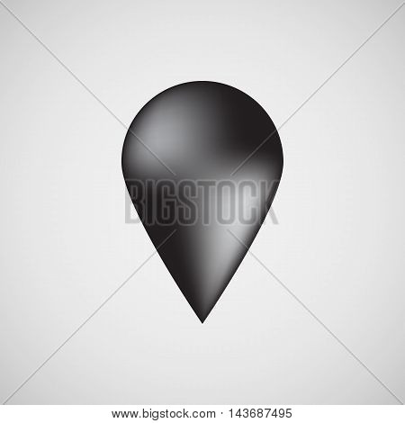 Black abstract map pointer badge, gps button with light background for logo, design concepts, internet sites, user interfaces, UI, applications, apps, presentations and prints. Vector illustration.