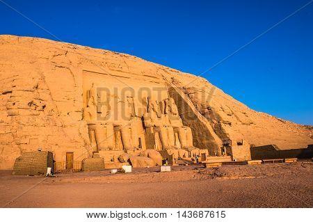 The Great Temple of Ramesses II on the sunrise, Abu Simbel, Egypt