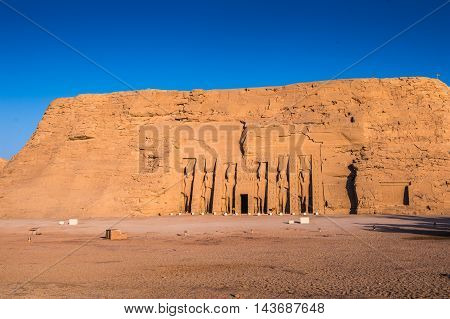 Abu Simbel temples on sunrise, Abu Simbel, Egypt. UNESCO World Heritage