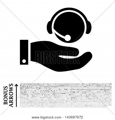 Call Center Service icon with 1200 bonus arrow and navigation pictograms. Vector illustration style is flat iconic symbols, black color, white background.