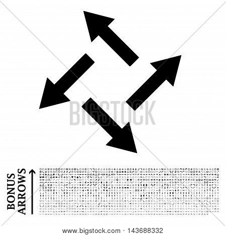 Centrifugal Arrows icon with 1200 bonus arrow and navigation pictograms. Vector illustration style is flat iconic symbols, black color, white background.