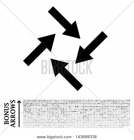 Centripetal Arrows icon with 1200 bonus arrow and direction pictograms. Vector illustration style is flat iconic symbols, black color, white background.