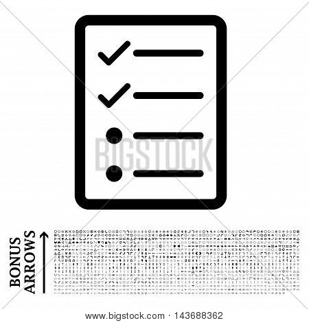 Checklist Page icon with 1200 bonus arrow and direction pictograms. Vector illustration style is flat iconic symbols, black color, white background.