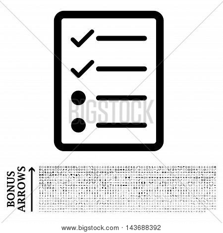 Checklist Page icon with 1200 bonus arrow and navigation pictograms. Vector illustration style is flat iconic symbols, black color, white background.