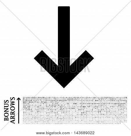 Down Arrow icon with 1200 bonus arrow and direction pictograms. Vector illustration style is flat iconic symbols, black color, white background.