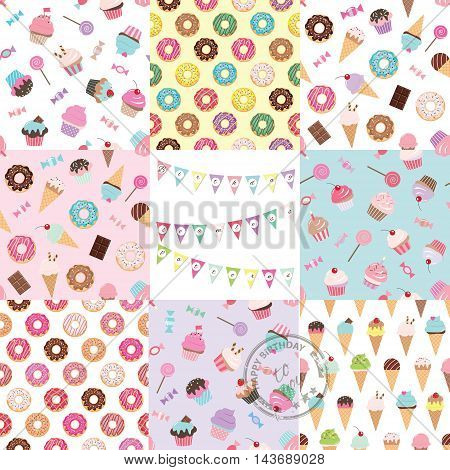 Eight bright seamless patterns with sweets. For birthday and summer design. For print and web.