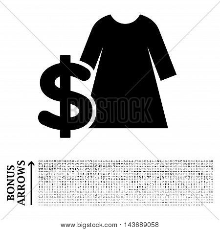Dress Price icon with 1200 bonus arrow and navigation pictograms. Vector illustration style is flat iconic symbols, black color, white background.