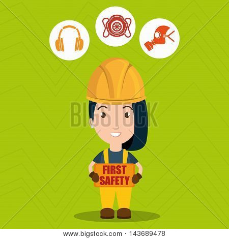 first safety worker icon vector illustration design