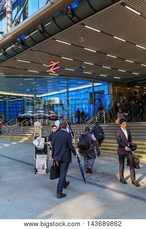 London UK - June 20 2016: entrance of Cannon Street Station with unidentified people. It is situated within fare zone 1 and is one of 19 stations in the United Kingdom managed by Network Rail