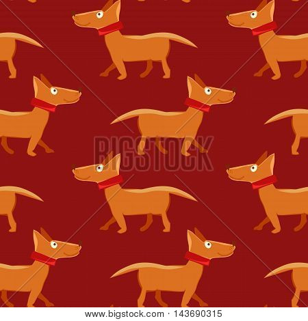 Vector illustration of seamless pattern with repeating dog on red background