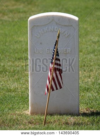 Grave of an unknown Union Civil War soldier.