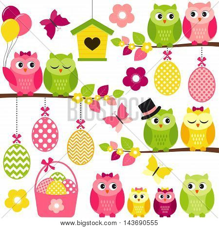 Vector easter owls with eggs balloons branches and butterflies