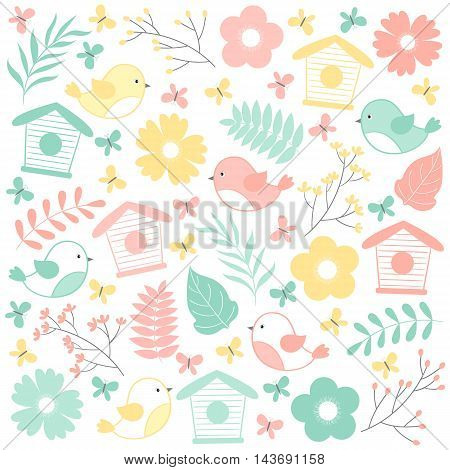 Vector summer set with birds bird cages leaves and flowers