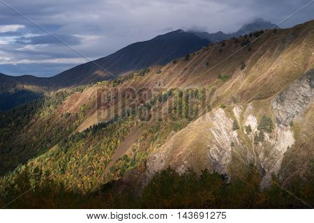 Slope of the mountain forest. Autumn landscape with a beautiful light and clouds. Zemo Svaneti, Georgia. Color toning