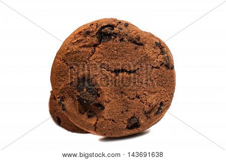 chocolate chip cookies on a white background