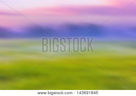 Blurred Abstract Landscape Of Morning Meadow
