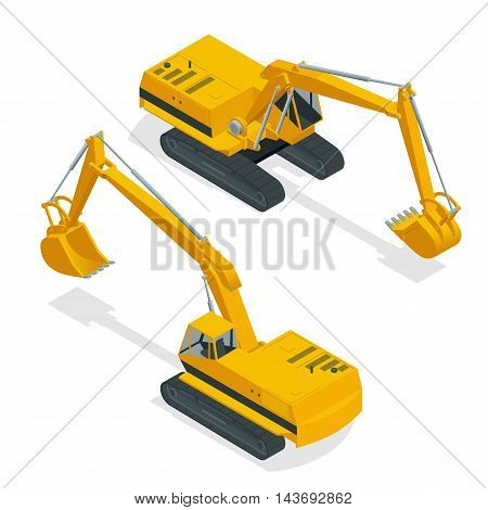 Isometric crawler excavator. Special machinery. Vector 3d flat isolated equipment for the construction industry consisting.