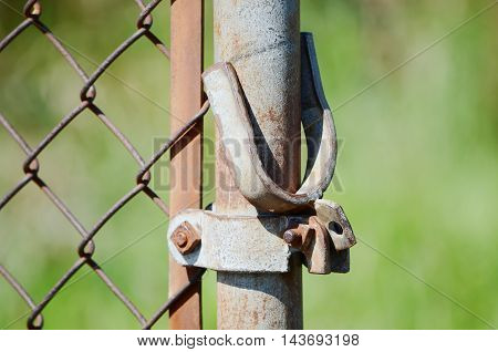close up old  Wire mmetal  fence post