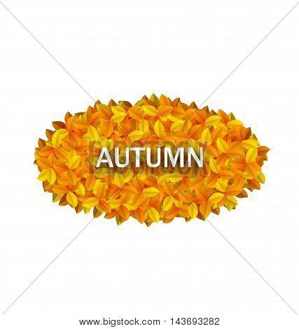 Illustration Oval Frame from Autumn Orange Leaves - Vector