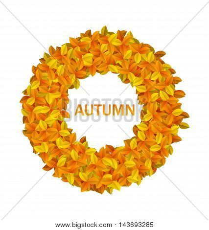 Illustration Round Frame from Autumn Orange Leaves, Isolated on White Background - Vector