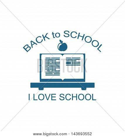 Illustration Back to School Logo Flat Icon, Textbook and Apple as Education Symbolic - Vector