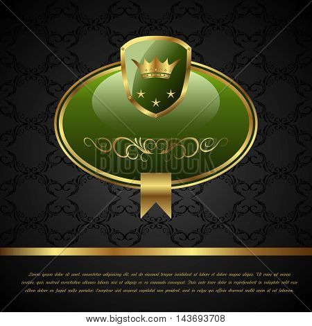 Illustration royal background with golden frame, shield, crown - vector