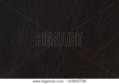 Closeup of black brown leather texture and background