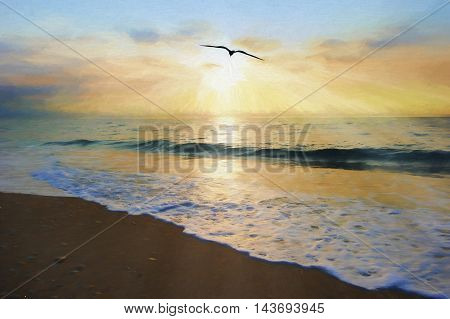 Ocean sunset bird is an ethereal ocean scenic with sun rays bursting forth from the setting sun as a single bird moves toward the light and an ocean wave gently comes to shore.