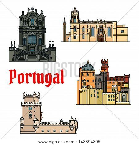 Historic sightseeings and buildings of Portugal. Vector detailed icons of Jeronimos Monastery, Hieronymites Monastery, Belem Tower, Clerigos Church, Pena Palace. Portuguese symbols for souvenirs, postcards