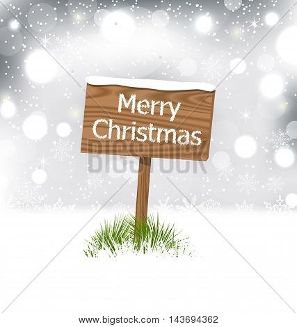 Illustration snow covered wooden billboard, Christmas snowflakes background - vector