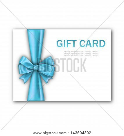 Illustration Decorated Gift Card with Blue Ribbon and Bow, Gift Voucher Template, Certificate Design - Vector