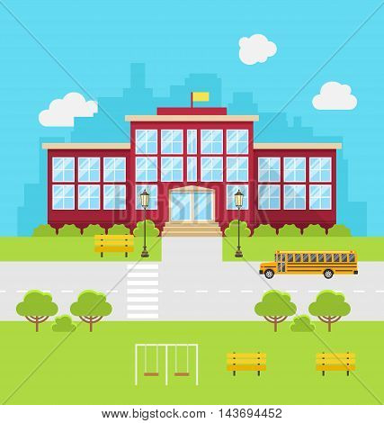 Illustration School Building, Background for Back to School - Vector