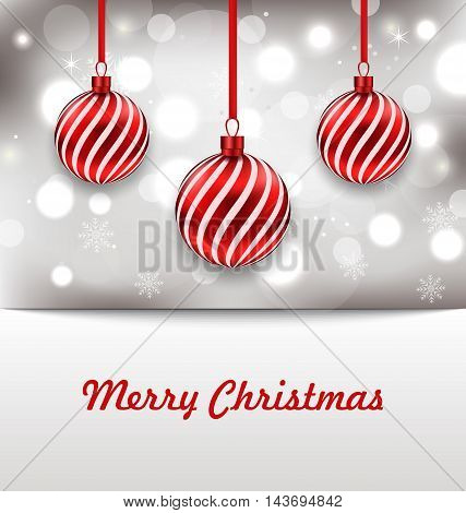 Illustration Christmas Shimmering Invitation with Balls - vector