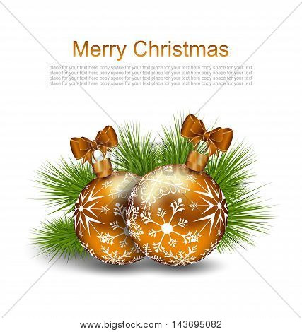 Illustration Christmas Card with Glass Balls and Fir Twigs on White Background - Vector