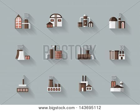 Industrial factory buildings. Manufacturing plants, warehouse, power station and other facilities. Set of flat color style vector icons on gray background.