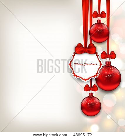 Illustration Xmas Background with Celebration Card and Glass Balls - Vector